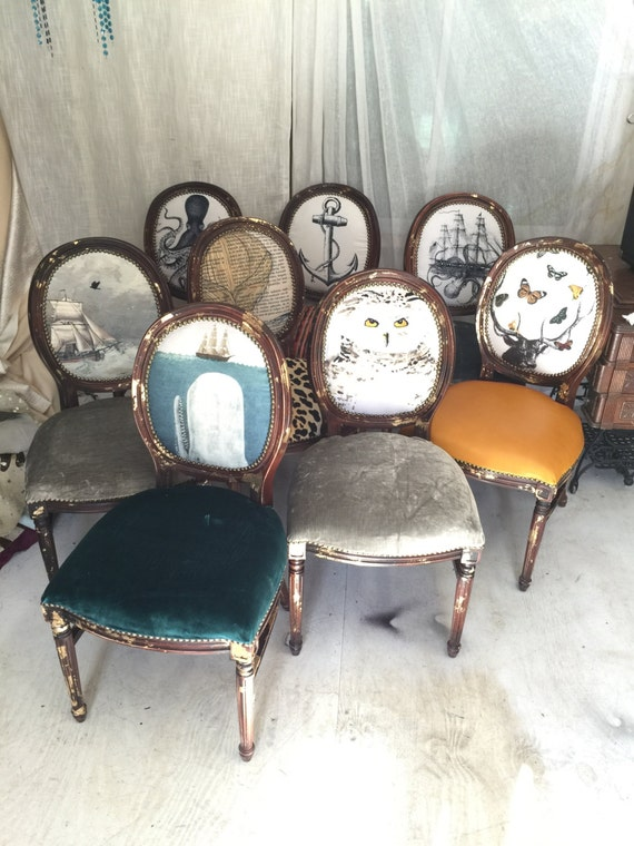 Eclectic set of dining chairs upholstered with velvet and for Printed upholstered dining chairs
