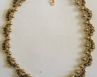 Gold Pearl and Seed Bead Necklace