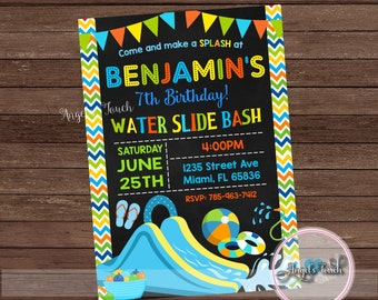 Water Slide Party Invitation, Waterslide Birthday Invitation, Waterslide Party Invitation, Boys Water Slide Invitation, Digital File
