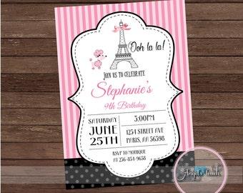 Paris Party Invitation, Paris Birthday Party Invitation, Paris Pink and Black Invitation, Paris Invitation, Digital File.
