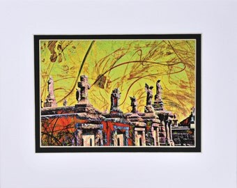 Cemetary photograph 5x7 matted photo