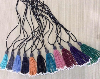 Pearl tassel necklace with color crystals