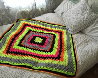 Neon Granny Square Blanket/Throw