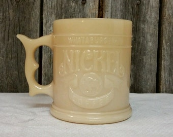 Whataburger Two Sided Nickel Coffee Mug Cup Caramel Butterscotch Glass Vintage
