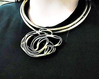 Flower necklace in aged brass. Handmade exclusive piece.