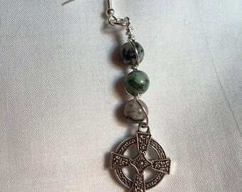 Tree Agate Celtic Cross Earrings