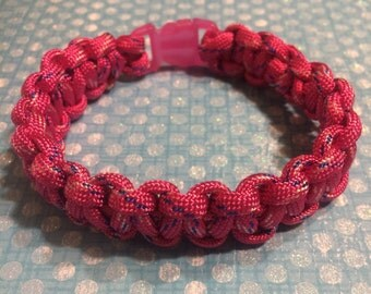 Handmade Neon Pink Paracord Bracelet 550 Wristband Survival Camping Safety Tactical NEW