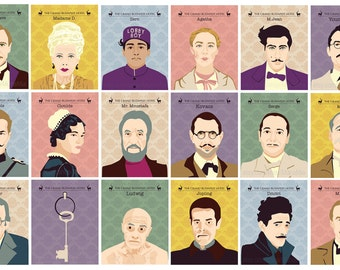 SALE - Set of 18 Prints, The Grand Budapest Hotel - Portraits, Wes Anderson movie illustration.