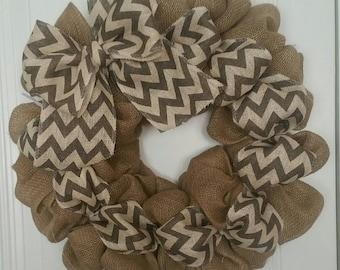 Burlap Wreath  Chevron Burlap Two Tone Chevron Burlap Wreath Chevron burlap bow