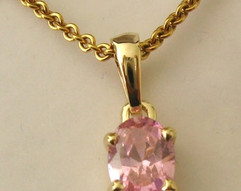 Genuine SOLID 9K 9ct YELLOW GOLD October Birthstone Tourmaline Pendant