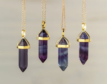 Fluorite Crystal Point Necklace Dark Fluorite Necklace Purple Pendant Crystal Layering Healing Crystal Yoga Pendant Double Point Necklace