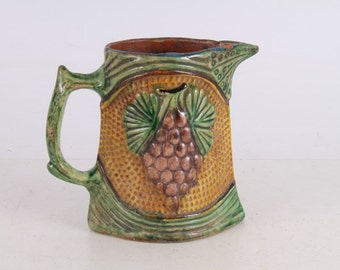 Antique Old Hand-Carved and Painted Glazed Pottery Milk or Water Jug.