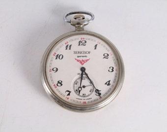Vintage Old Soviet Russian Molnija Molnia Serkisof Bears Pocket Watch