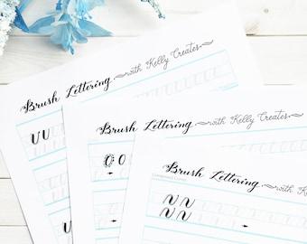 Brush Lettering Practice Worksheets DRILLS for Small Brush Pens
