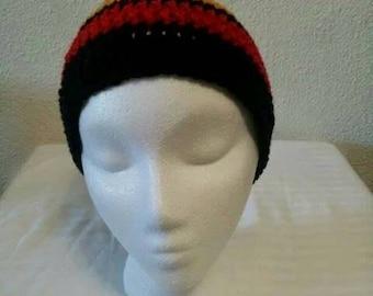 Men's/Boy's Beanie - Black Gold Red Crochet