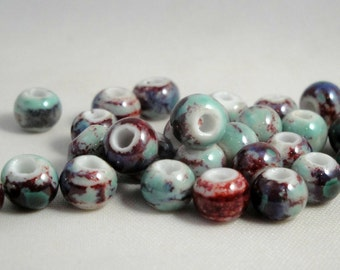 5 ceramic round beads 6 mm (0,23 in) : blue/red (PC69)