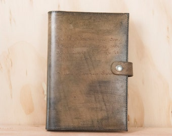 Personalized Leather Journal - Handmade Notebook with Custom Inscription in the Smokey Pattern - Antique Brown - Third Anniversary Gift