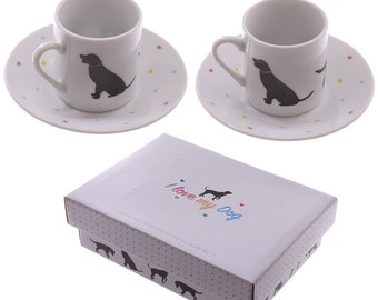 Set of 2 Espresso Cup and Saucer - I Love My Dog