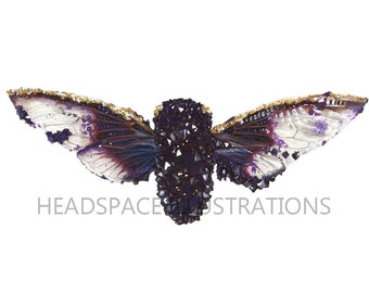 Crystal Cicada with Hand Painted Gold Colored Pencil Insect Tyler Thrasher Crystalized Art Print by Headspace Illustrations