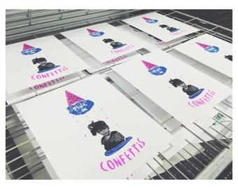 Displays 'Rain of confetti'