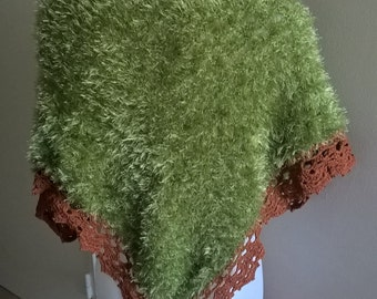Green and rust crochet shawl