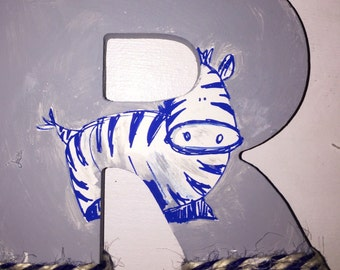 Wood hand painted letters with zebra (other animals available upon request)