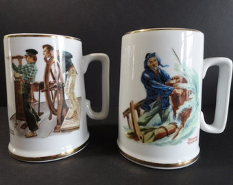Norman Rockwell Cups Mugs - Set of 2 - 1985