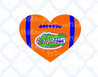 Florida Gators Football Heart SVG,EPS,PNG,Studio