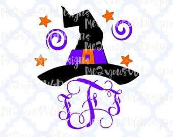 Witch with Swirls Monogram Frame SVG,EPS,PNG,Studio