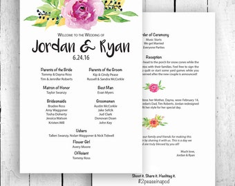 Wedding program printable, Floral Wedding Program Watercolor Flower Ceremony Program Printable digital files