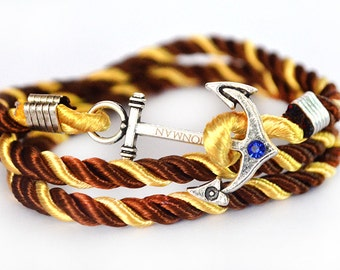 Chocolate Gold Anchor Rope Nautical Bracelet