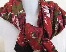 Satin scarf floral rose print made in Italy Tie Rack Cinzia Fiori maroon blue boho gypsy hippie vintage 80s.