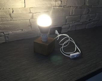 Handcrafted wooden lamp abat jour