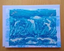 Art card / Greetings card. White Horses. Encaustic Art
