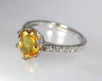 Wedding ring 2.50 ct yellow golden sapphire ring silver sterling.