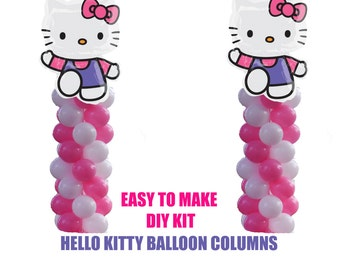 Hello Kitty Birthday Balloons, Hello Kitty Party Decorations, DIY KIT easy to assemble, Hello Kitty Balloon Column Decorations, Baby Shower