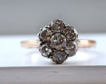 Vintage Solid Gold 19.2K ENGAGEMENT Ring With 7 Diamonds From Portugal