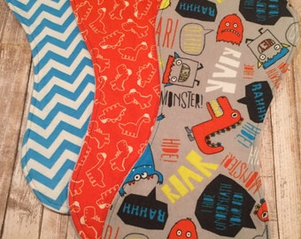 Baby Boy Burp Cloth Set~Flannel and Minky~Orange Teal Grey~Monsters and Dinosaurs~Baby Boy Shower Gift