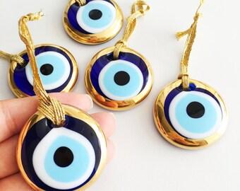 2pcs gold evil eye bead - 4.5cm - malocchio- evil eye wall hanging - gold evil eye charm - car rear mirror charm - turkish evil eye - nazar