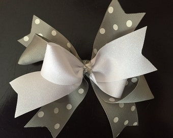 Grey Polka Dot Hair Bow