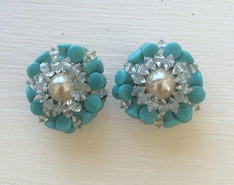 Turquoise and pearl florette: clip on earrings...or shoe clips!