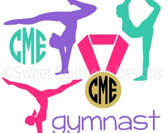 Gymnast set with tumbling medal gymnastics SVG instant download design for cricut or silhouette