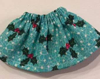 Christmas Elf Girl Doll Clothes Skirt Turquoise Blue Holly Leaves & Dots