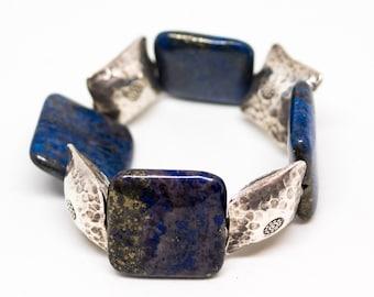 Silver and lapis lazuli bracelet