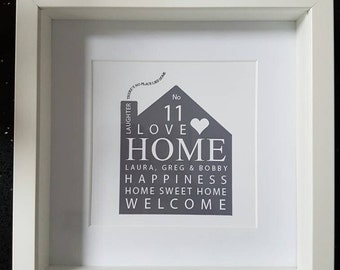 New home - house - house warming - family - personalised - modern framed print