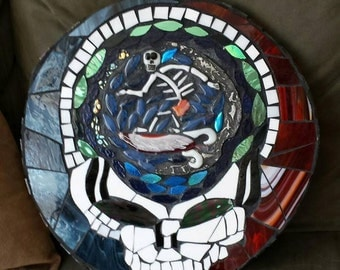 "Grateful Dead Table-Steal your Face-17 1/2""-Grateful Dead-Mosaic Tables-grateful dead tables"