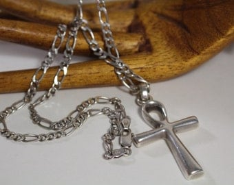 "Large ANKH w/ 18"" Chain ~ Symbol of Eternal Life ~ Sterling Silver Large Link Chain, 24.3g Sterling 925 ~ Egyptian Hieroglyph"