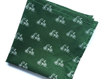 Green and White Bicycle Print Pocket Square
