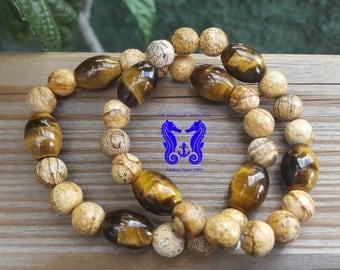 Elastic man bracelet with semi-precious stones