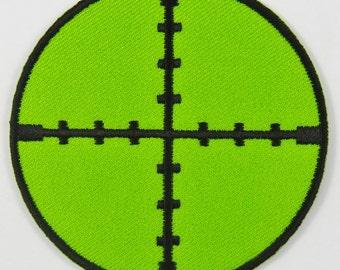 Crosshairs Gun Sight Scope (Green) Iron On/ Sew On Cloth Patch Badge Appliqué cybergoth cyber punk goth rocker emo rave sniper Size: 6.8cm